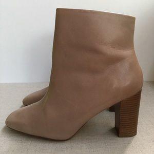 Zara Women EU 41 Beige Leather Zip-Up Heeled Boots
